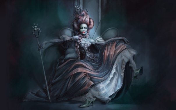 Фото обои поза, Девушка, корона, коса, трон