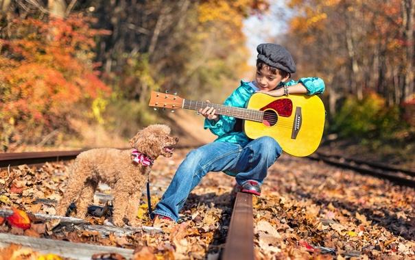 Фото обои гитара, собака, железная дорога, малчик