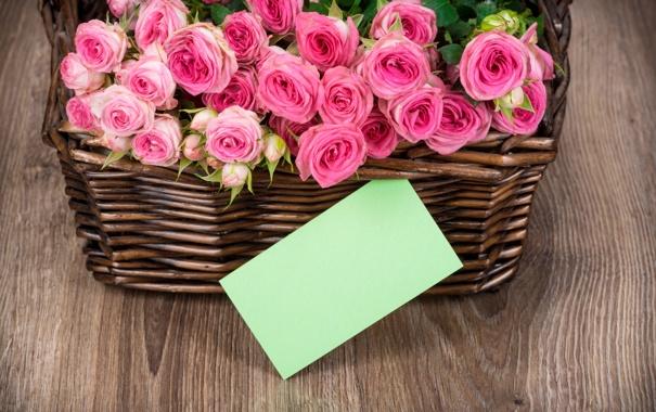 Фото обои корзина, розы, букет, pink, flowers, romantic, roses