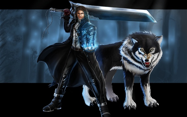 Фото обои взгляд, оружие, волк, арт, охотник, Vampire Hunter