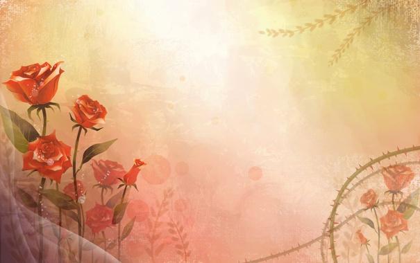 Фото обои цветы, стиль, vector, розы, вектор, арт, art