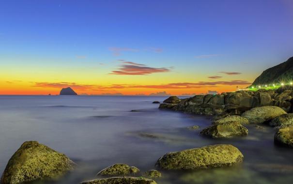 Фото обои закат, камни, пейзаж, море