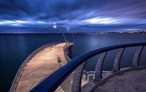 Фото обои море, мост, город, огни, Ontario, Blue Hour, Long Exposure