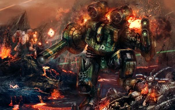 Фото обои огонь, война, робот, взрывы, вулкан, солдаты, лава