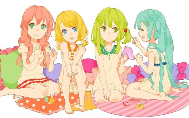 Фото обои девочки, подушки, арт, бантики, vocaloid, hatsune miku, megurine luka