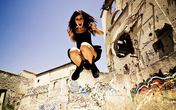 Фото обои девушка, прыжок, urban