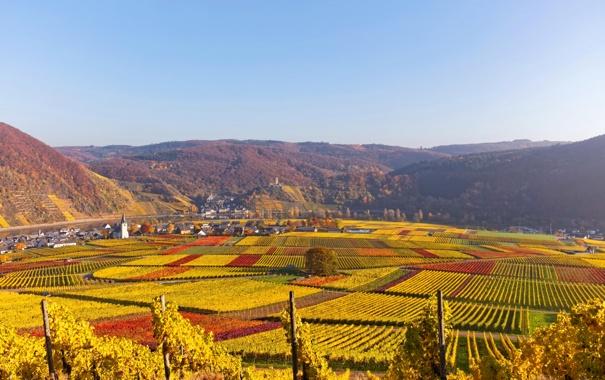 Фото обои осень, река, канал, Ellenz-Poltersdorf, Германия, дома, горы