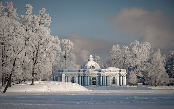 Фото обои зима, снег, парк, вечер