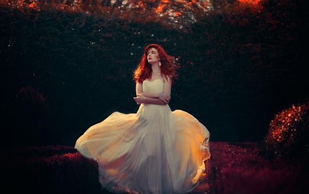 Фото обои осень, платье, освещение, Fanny Moreaux
