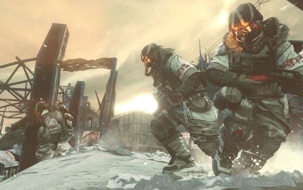 Фото обои зима, снег, оружие, маска, автомат, солдаты, killzone 3