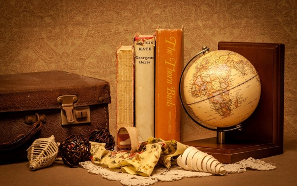 Фото обои книги, чемодан, глобус