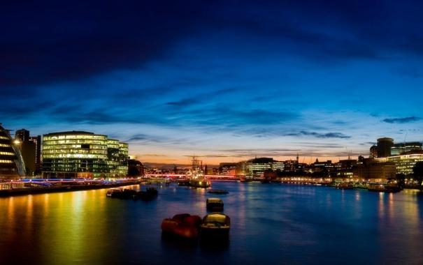 Фото обои река, Лондон, вечер, London