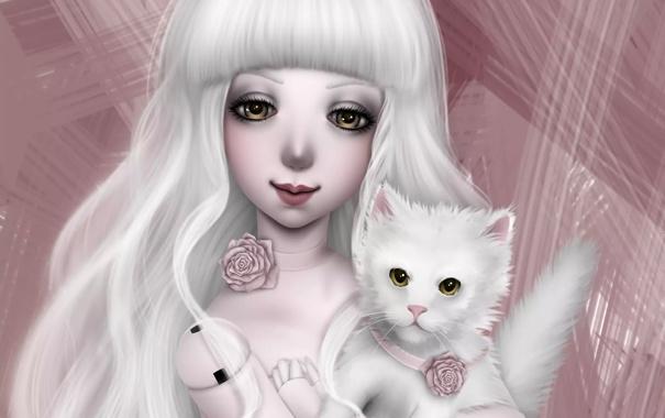 Фото обои кот, кукла, арт, девочка, doll, NImFpa