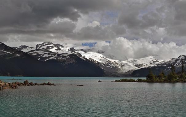 Фото обои пейзаж, небо, озеро, панорама, деревья, елки, снег