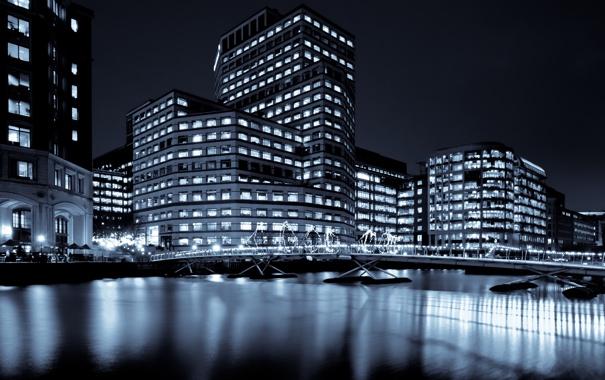 Фото обои свет, ночь, мост, город, огни, дом, река