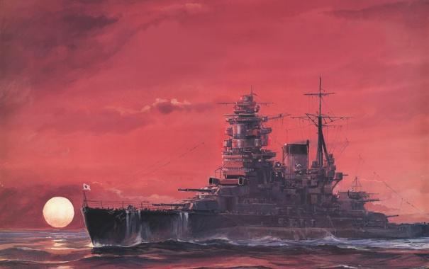 Фото обои море, волны, рисунок, корабль, арт, WW2, линейный