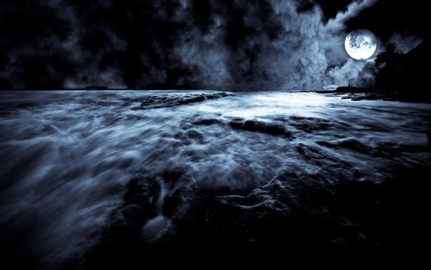 Фото обои ночь, луна, moonrise