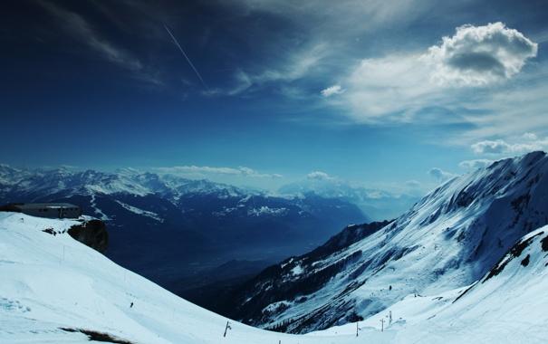 Фото обои небо, облака, снег, горы, высота, станция, склон