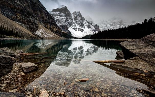 Фото обои лес, горы, природа, озеро, Canada, Morraine Lake, Larch Valley hike