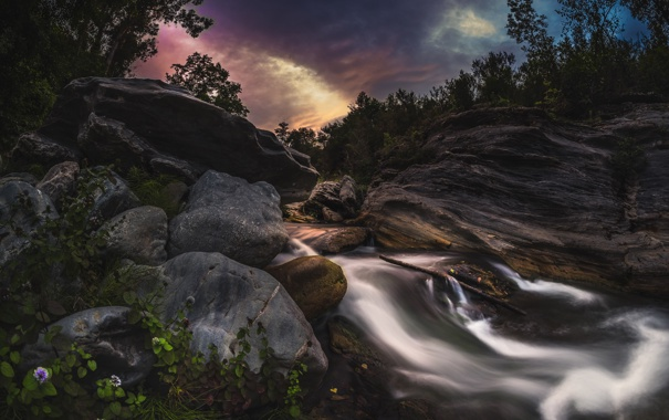 Фото обои камни, река, ночь
