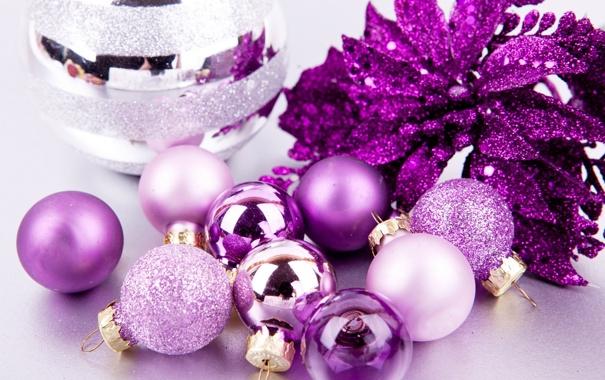Фото обои фиолетовый, фон, праздник, шары, обои, игрушки, новый год