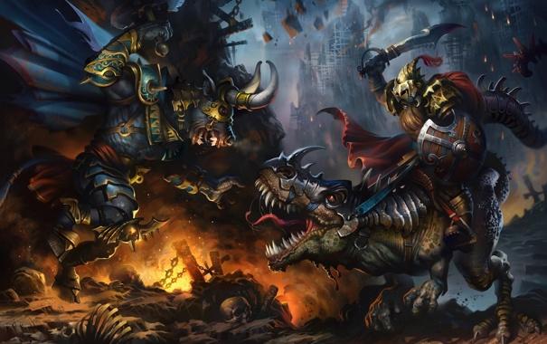 Фото обои минотавр, монстр, рога, ящер, арт, битва, оружие