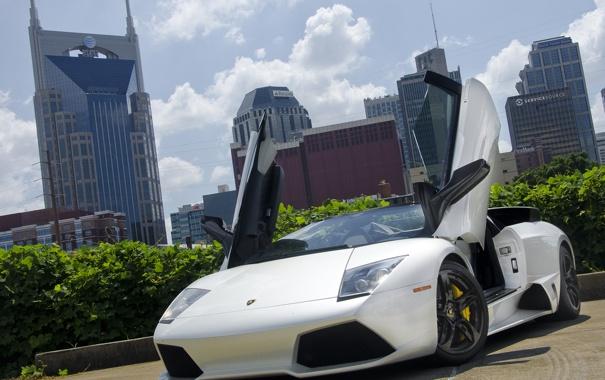 Фото обои Roadster, Lamborghini, white, supercar, sky, building, LP640