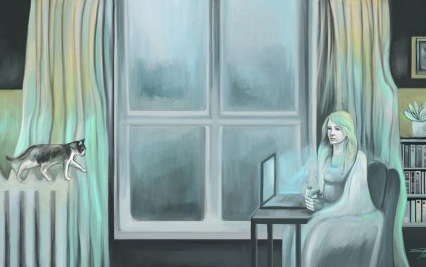 Фото обои кошка, девушка, бабочка, книги, кофе, вечер, окно