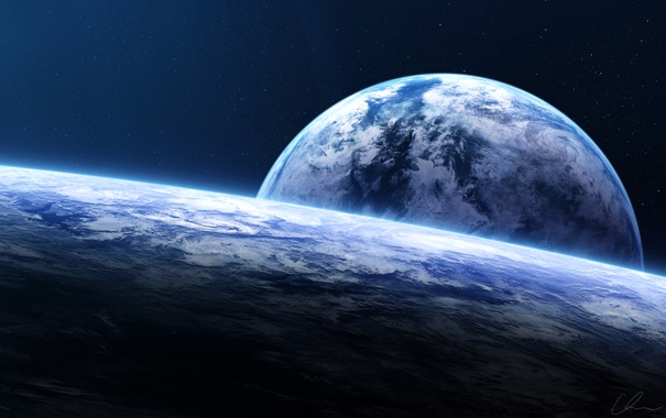 Фото обои космос, планеты, звёзды, арт