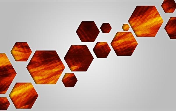 Фото обои фон, огненный, шестиугольник