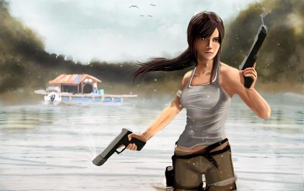 Фото обои небо, вода, девушка, птицы, отражение, оружие, пистолеты