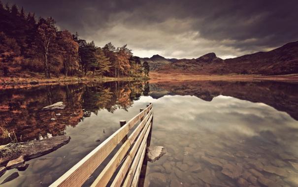 Фото обои пейзаж, озеро, забор