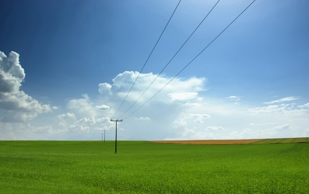 Фото обои поле, небо, природа, фото, столбы, провода, пейзажи
