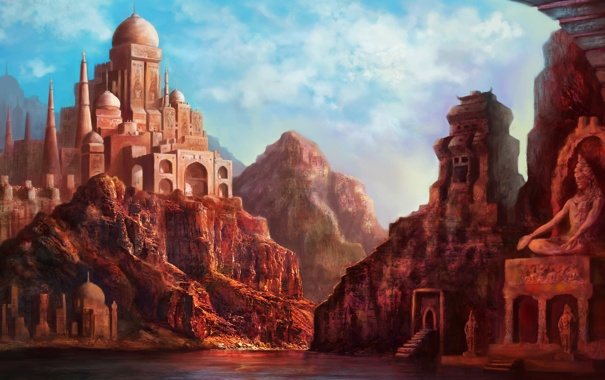 Фото обои город, озеро, скалы, дома, арт, индия, статуя