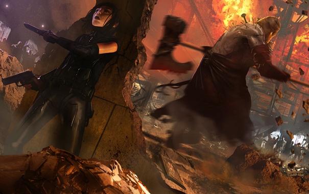 Фото обои зомби, Обитель Зла, Resident Evil, молот, девушка, пистолеты, мясник