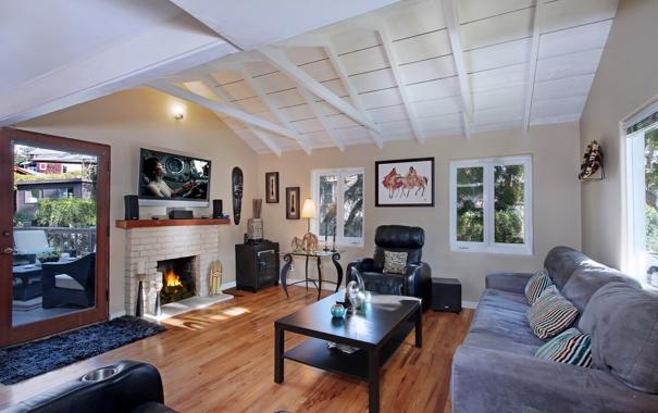 Фото обои дизайн, фото, стол, диван, интерьер, камин, гостиная