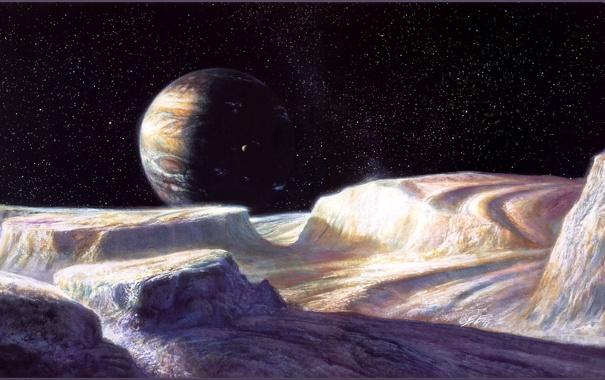 Фото обои космос, планета, спутник, Боб Эгглетон