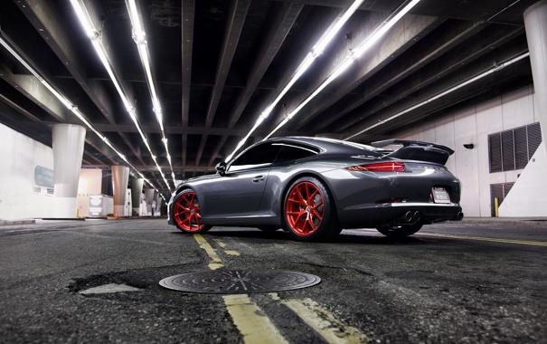 Фото обои дорога, серый, разметка, 911, Porsche, порше, grey