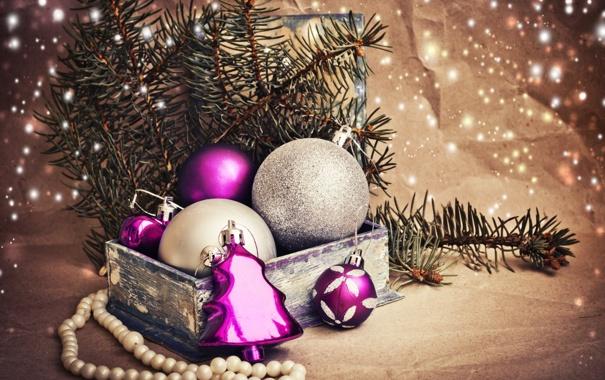Фото обои зима, шарики, ветки, коробка, игрушки, ель, Новый Год