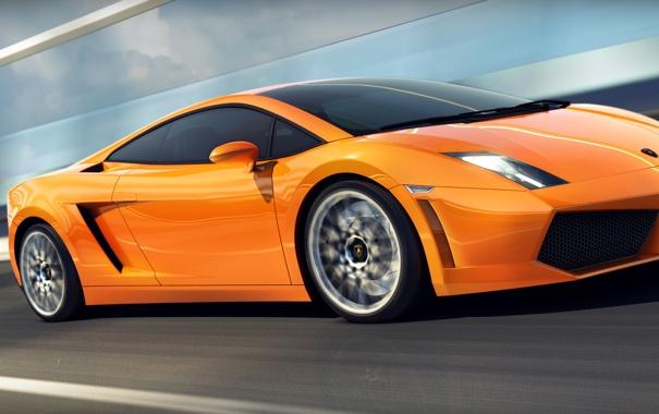 Фото обои скорость, оранжевая, Lamborghini, размытость, Gallardo, ламборджини, orange