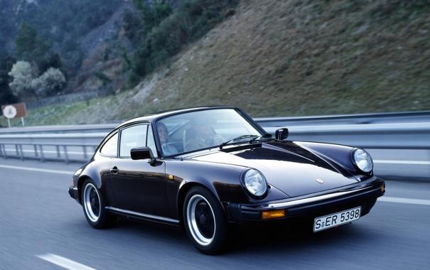 Фото обои 911, Porsche, black, road, auto, walls, speed