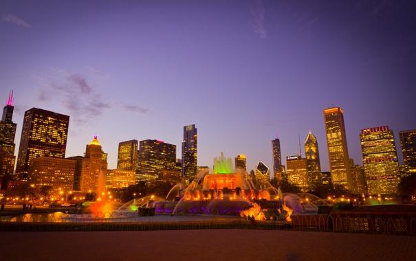 Фото обои city, город, огни, парк, вечер, фонтан, USA