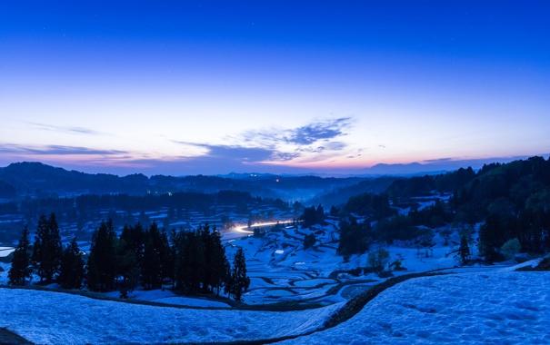 Фото обои зима, дорога, снег, деревья, горы, огни, вечер