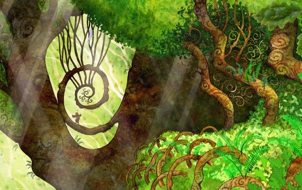 Фото обои лес, деревья, фентези, мультфильм, красота, Эшлинг, Тайна Келлс