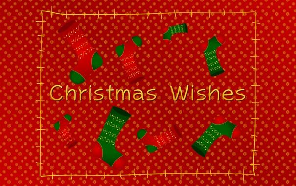 Фото обои снег, снежинки, праздник, новый год, носки, christmas, красный фон