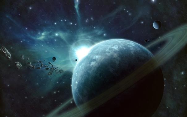 Фото обои звезды, планета, кольца, de light, астероиды, свет