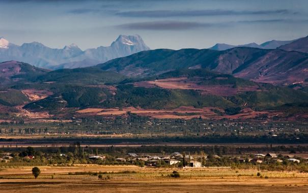 Фото обои поле, пейзаж, природа, обои, гора, деревня, wallpapers
