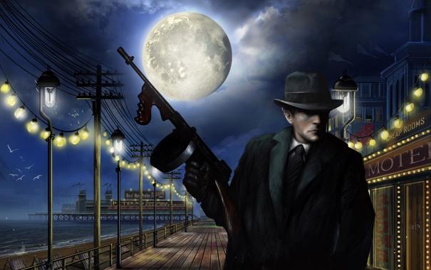 Фото обои море, ночь, город, оружие, луна, шляпа, причал