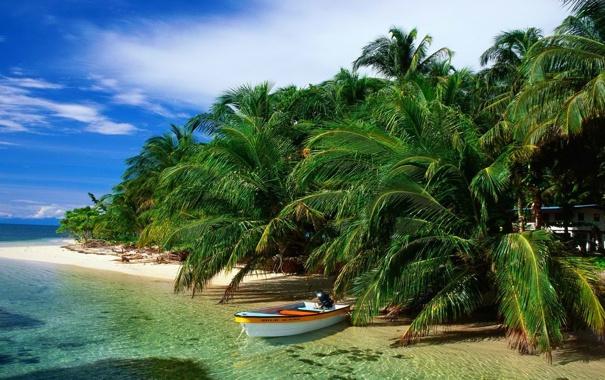 Фото обои песок, море, пляж, небо, облака, пальмы, лодка