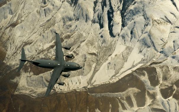 Фото обои полет, ландшафт, самолёт, стратегический, военно-транспортный, C-17, Globemaster III